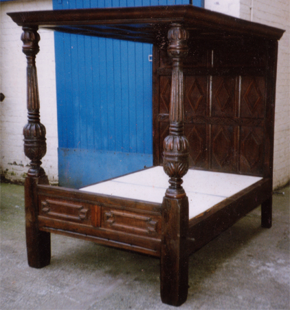 Restored four poster bed