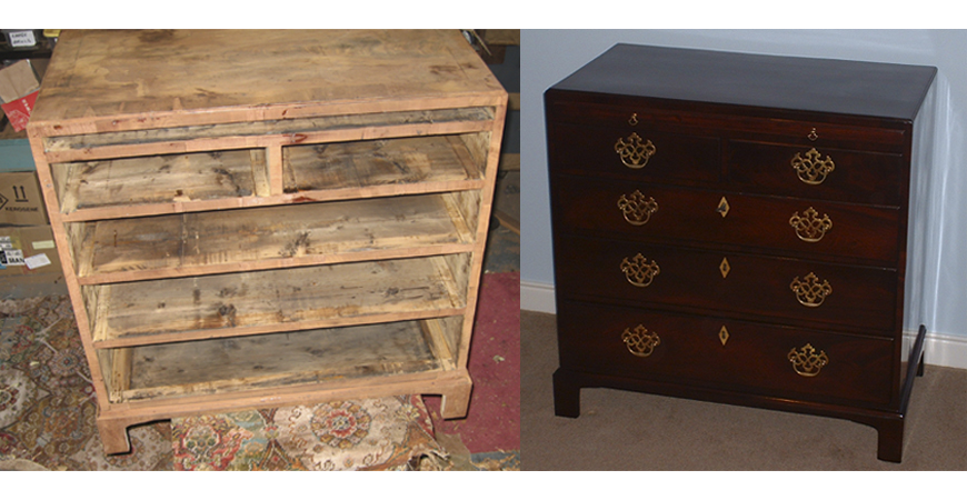 Before and after photos of a chest of drawers