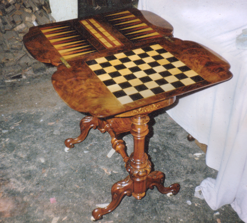 Photo of restored backgammon and chess table