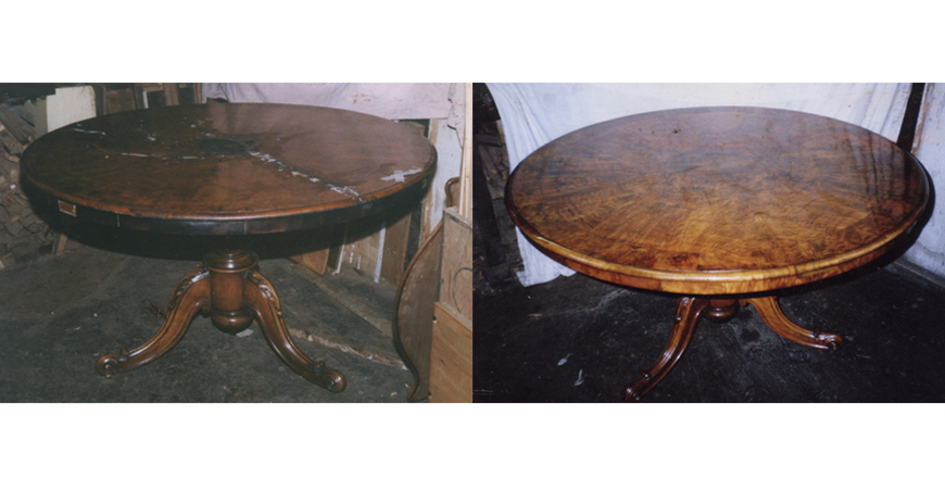 Before and after photos of a table with surface cracks